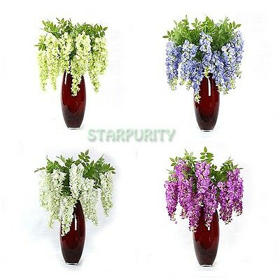 Artificial Hanging Wisteria Bean Flowers 3 Branches  for Home Vase Wedding Decor