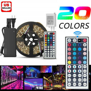 5M-RGB-5050-Waterproof-LED-Strip-light-SMD-44-Key-Remote-12V-US-Power-Full-Kit