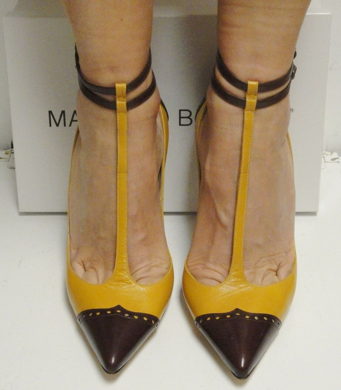 Manolo Blahnik Two Tone Leather Pointed T-Strap Strappy Heels Pumps Shoes 41