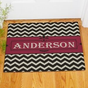 Personalized Last Name Chevron Family Welcome Doormat