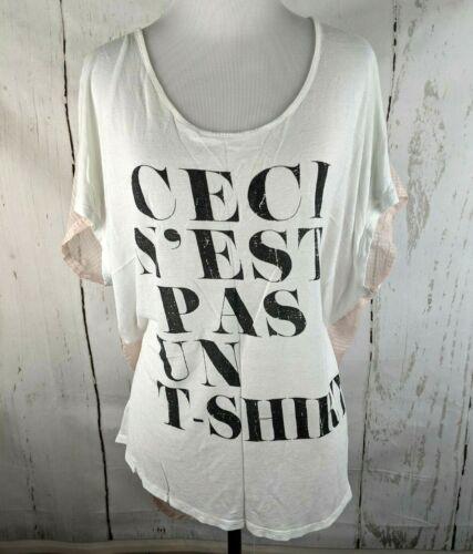MOSSIMO T-Shirt S/M White Sheer Panel Ceci N'est P