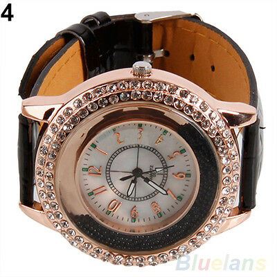 Vogue Ladies Crystal Dial Quartz Analog Leather Bracelet Luxury Wrist Watch BKCU