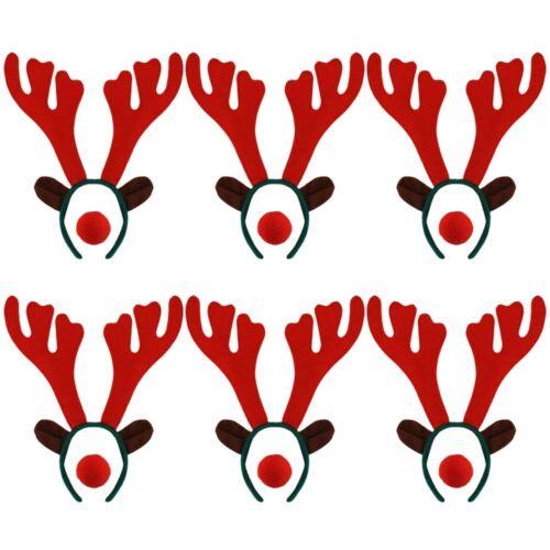PACK OF RUDOLPH REINDEER ANTLER HEADBAND RED NOSE CHRISTMAS FANCY DRESS XMAS LOT