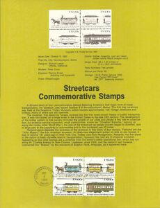 #8337 20c Streetcar Stamps B4 - Scott #2059-2062a USPS Souvenir Page