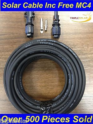 Solar PV Cable 6mm DC rated 79A + 1 Pair Free MC4 CONNECTOR. Free P+P