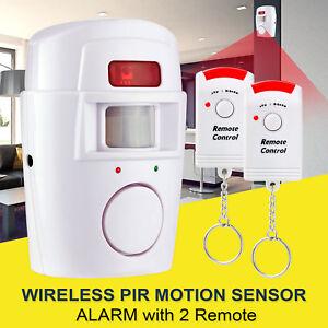 PIR-Motion-Sensor-Alarm-Wireless-Home-Garage-Caravan-2-Remote-Controls-Security