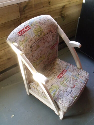 Refurbished Reupholstered Vintage London Prayer Chair Fabric Shabby Chic Retro