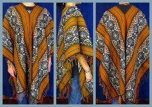 Umhang-farbenfroher-Poncho-Cape-Handarbeit-ONESIZE-UNISEX-Strick-Inka-Neu
