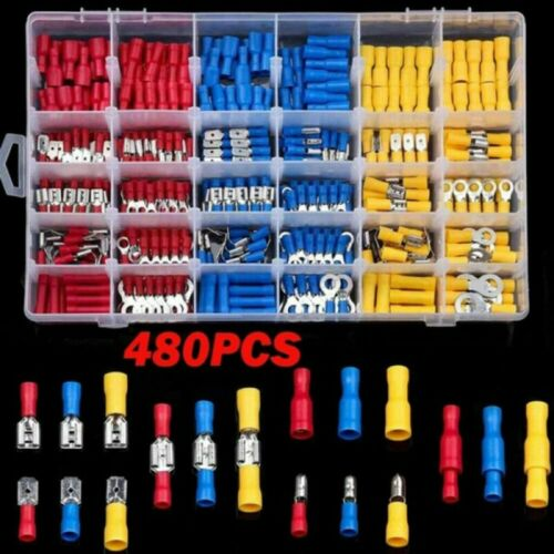 480PCS Car Electrical Wire Terminals Insulated Crimp Connectors Spade Box Set UK