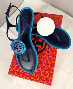 81fbd0917821 Women s Tory Burch Miller Fringe Jewel Blue Leather Sandals ...