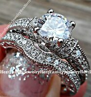 Sterling Silver Vintage Estate Style Round Cut Engagement Ring 2pc Wedding Set 7