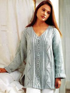177-Aran-Knitting-Pattern-for-Lady-039-s-Textured-Tunic-Sweater-32-42-039-039