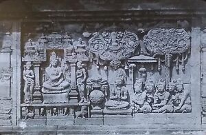Temple Carvings, Borobudur/Barabudur, Indonesia, Magic Lantern Glass Slide