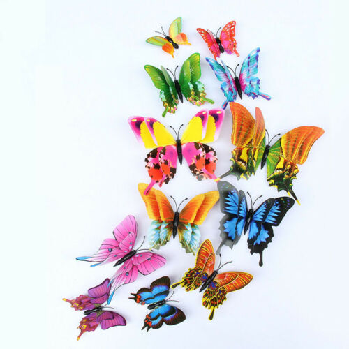 12pcs Dual-Wing 3D Butterfly Decor Removable Magnet Wall Sticker Backdrop Decal