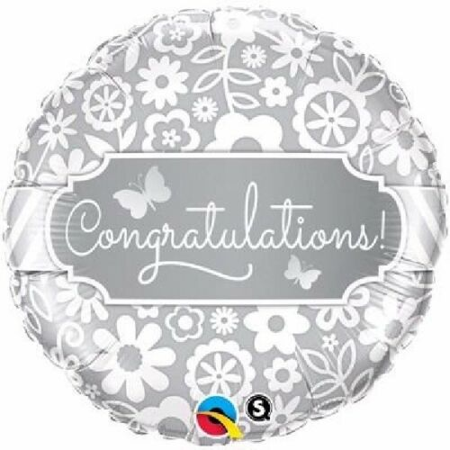 "CongratulationsCelebrateSilver Flowers 18/"" Party Foil Balloon Qualatex"
