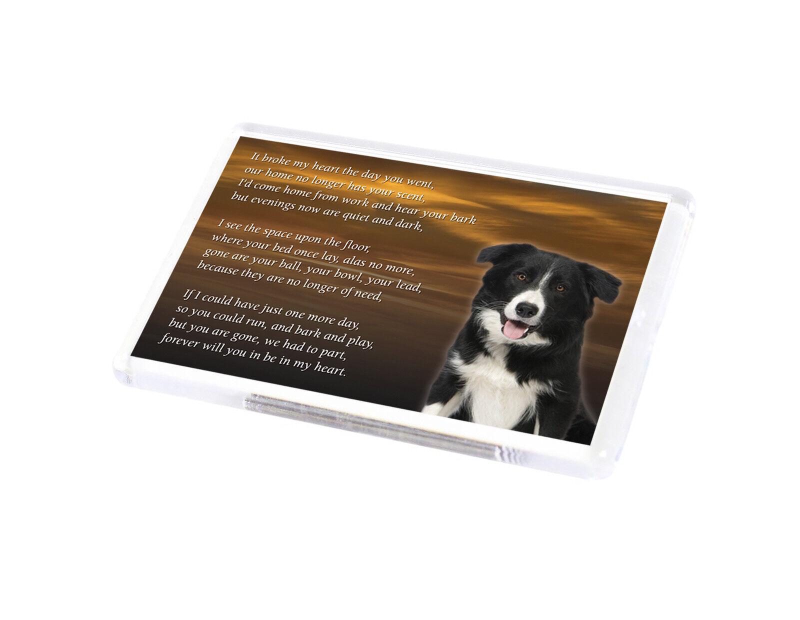 Border Collie Pet loss Bereavement Gift Paw Prints on heart fridge magnet