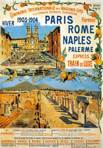 TX125 Vintage Paris Rome Naples Palerme Express Railway Travel Poster A2//A3