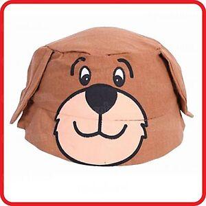 KIDS-CHILDRENS-BOYS-GIRLS-BROWN-TEDDY-BEAR-DOG-BUCKET-FISHING-BEANIE-HAT-COSTUME