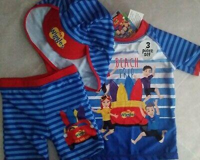 NWT Boys Sz 2 to 3 Bob The Builder Float Swim Suit Rash Top /& Shorts Set UPF 50+
