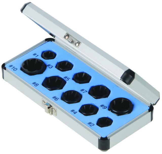 10pc Damaged Nut Bolt Remover Set - 9-19mm Broken Bolt Removal Kit Stud Extract