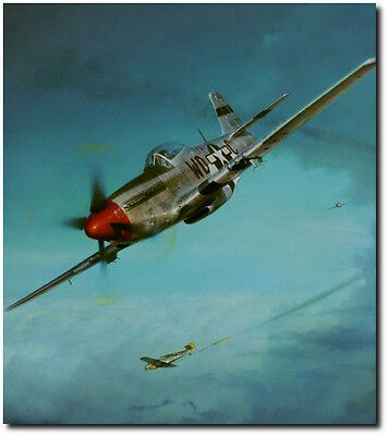 """Shaw P-51 Mustang Print Co-Signed by Col Don Blakeslee /""""Debden Eagles/"""" John D"""