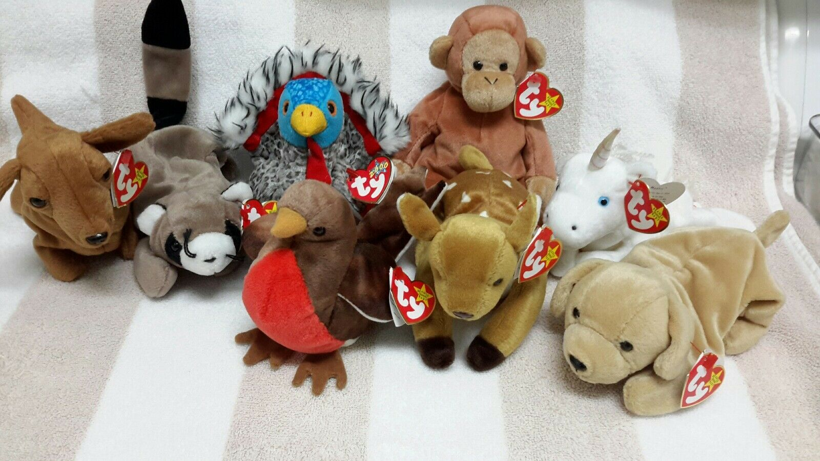 Lot of 8 Ty Beanie Babies, Never used 1994-2000