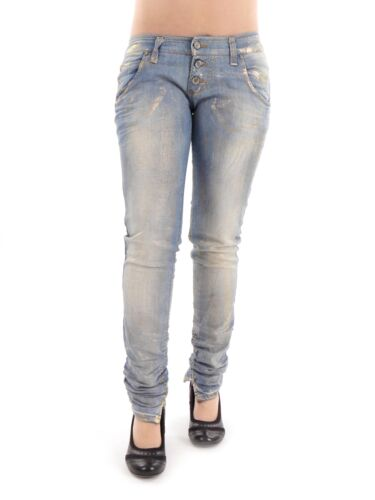Please Jeans Freizeithose Stoffhose blau Gold modisch dehnbar Slim