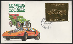 Zambia (379) 1987 Classic Cars - BUGATTI in 22k gold foilon First day Cover