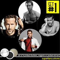 Ryan Reynolds Set Of 4 Pinback Buttons Or Magnets Or Mirrors Badges Pins 1585