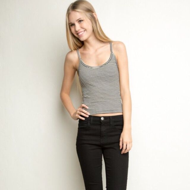 brandy Melville Fitted Black/cream Striped  Ribbed crop tank James Tank top NWt
