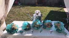 Lot Of 6 Pcs Rustic Shabby Burlap Toss Bridesmaids Wedding Bouquets Teal Tiffany