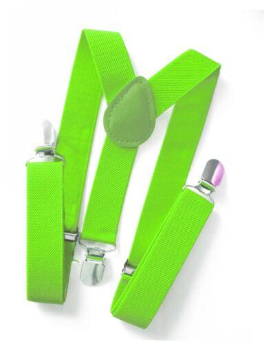Kinderhosenträger NEON GRÜN Kinder Hosen Träger Stretch Y-Form Style 3Clips 25mm