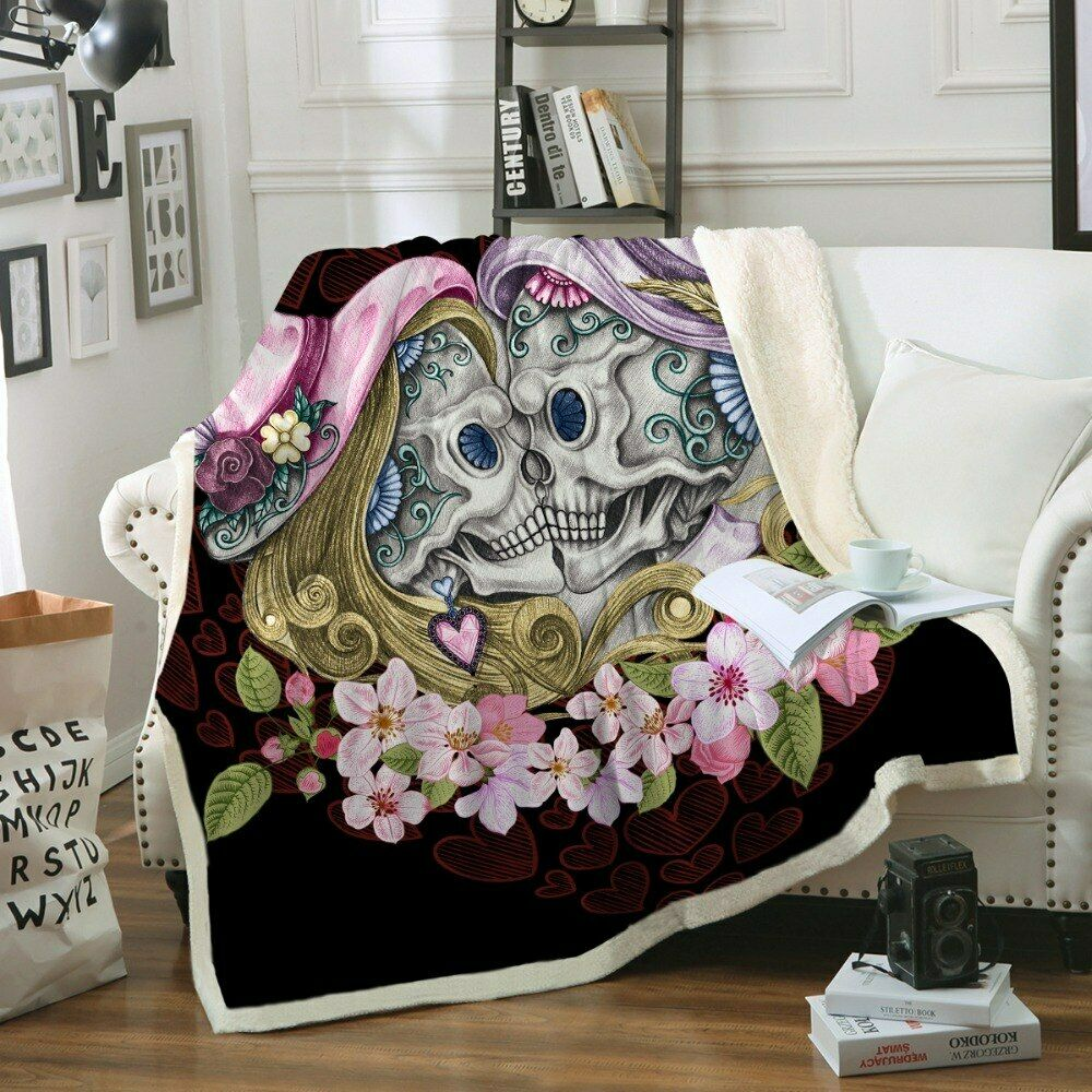 Skull Couple Floral Heart Pink Sherpa Plush Throw Blanket Fleece Bed Sofa Couch
