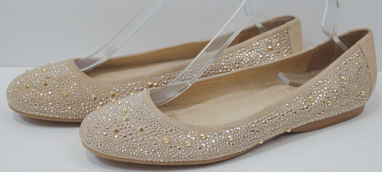 Stuart Weitzman Russell & Bromley nude beige Nubeads cloutées Ballerine Chaussures 10