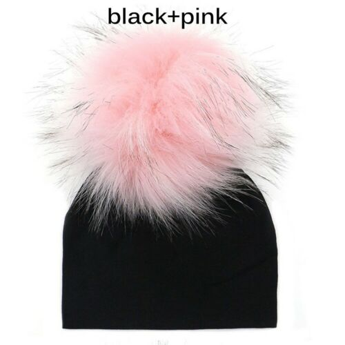 Pompom Faux Raccoon Toddler Newborn Beanie  Fur Ball Caps Baby Cotton Hat