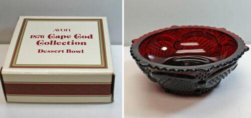 MIB 1876 Cape Cod Red Ruby fruit Desert Bowl Vintage Avon