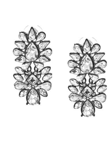 ABVERKAUF Lange Ohrringe Ohrstecker Kristall Klar Transparent 4,8 cm Lang