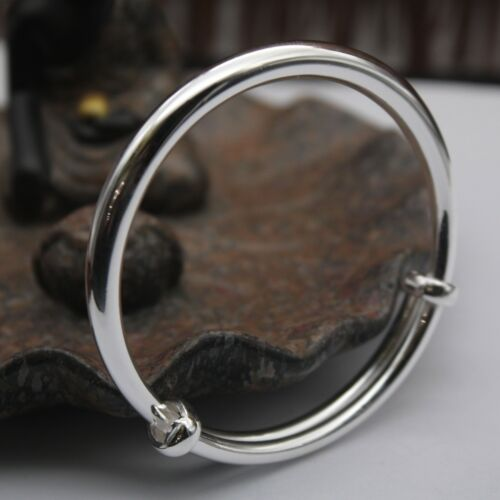 New Solid 990 Sterling Silver Bangle 6mm Round Band Adjustable Bangle 54-60mm