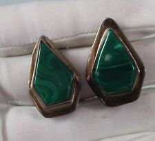 Handmade Modernist Malachite Sterling Silver earrings clip on Mexico, Taxco