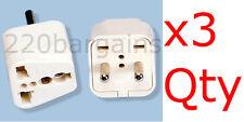 3PK 2 Round Pin Asian Euro Plug Adapter with Universal Output Socket