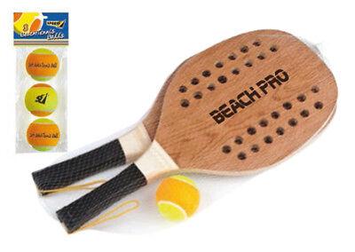 2 Racchettoni + 4 Palline Beach Tennis Pro Sport One Racchette Legno Spiaggia Acquista Sempre Bene