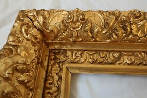SM-DEEP-ANTIQUE-FITS-5-X-7-GOLD-PICTURE-FRAME-WOOD-GESSO-ORNATE-FINE-ART-COUNTRY