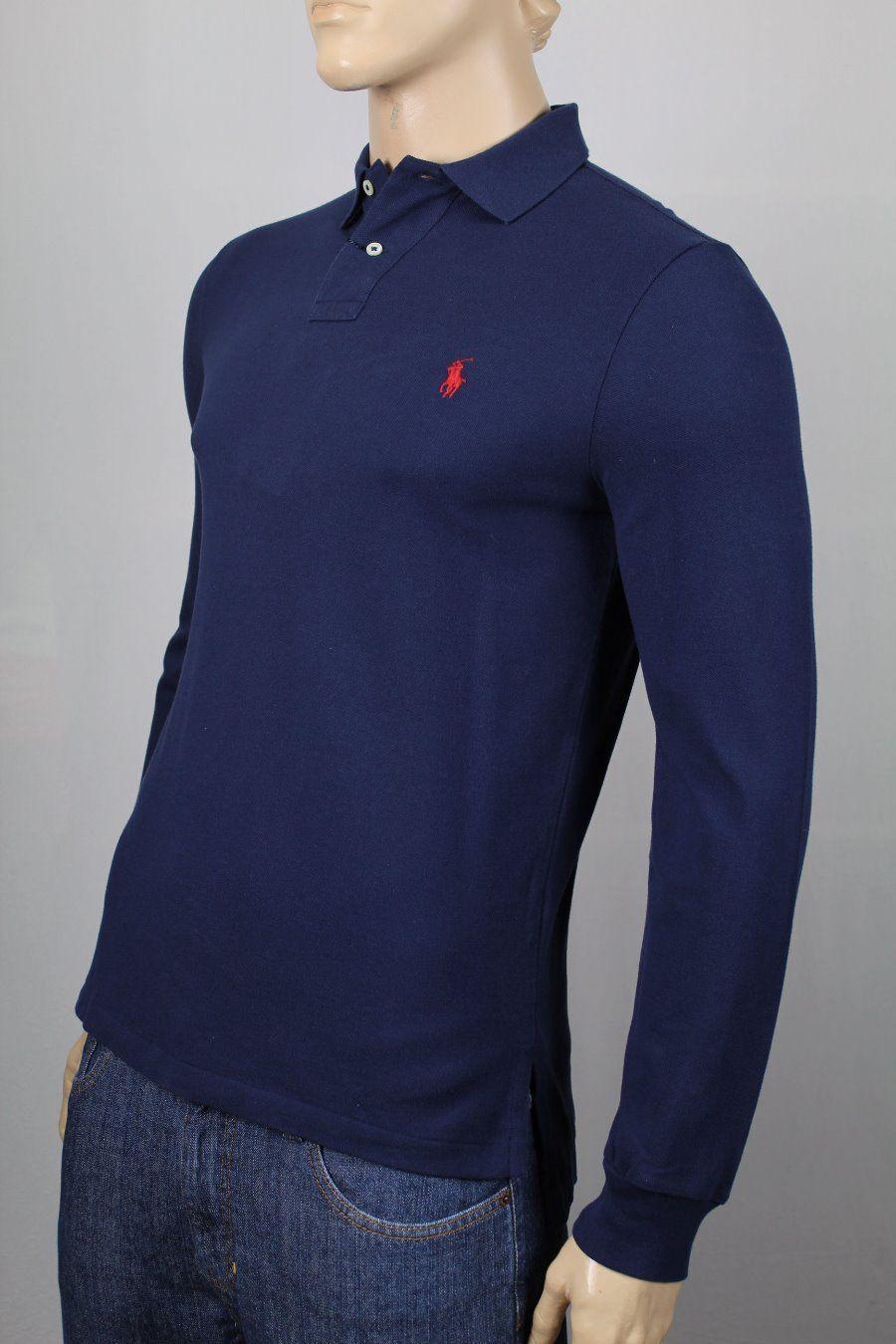 Polo Ralph Lauren Navy bluee Mesh Long Sleeve Shirt Red Pony NWT