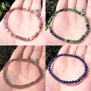 Handmade-4mm-Genuine-Semi-precious-Stone-Agate-Healing-Reiki-Beaded-Bracelet