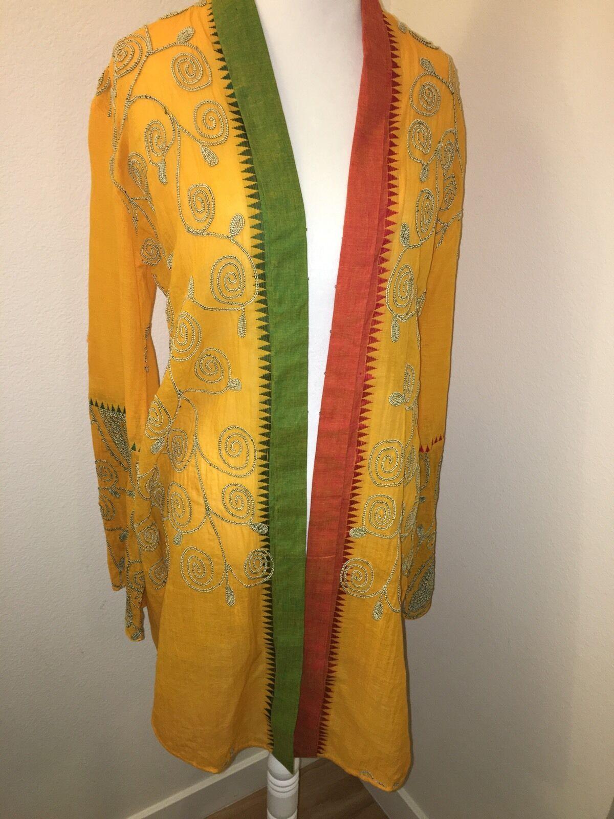 Paul Ropp Embroidered Beach Kimono Cover Up S Small Gypsy Cape Yellow orange