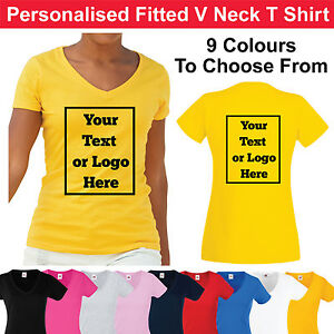 9b3c0d6b11ec3 Details about Custom Printed Ladies V Neck Fitted T Shirt Personalised  Women's Tee Shirt Hen