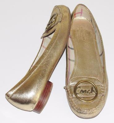 COACH~METALLIC GOLD~LEATHER *CORENA* SIGNATURE BALLERINA BALLET FLAT SHOES~9.5