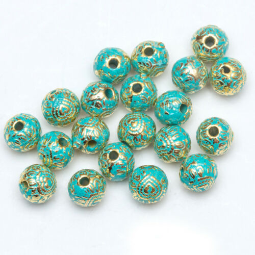5 10 Round Turquoise /& Gold Metal Spacer Beads Bracelet Viking Celtic Knot Charm