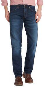 Details about Wrangler Greensboro Regular Straight Tapered Stretch Jeans El Camino Blue Denim