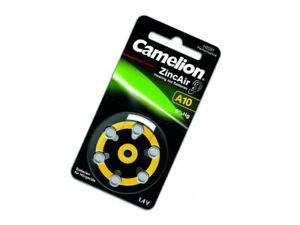 Camelion Batterien Hörgerätebatterien Knopfzellen A10 PR70 1,4V 90mAh 6 Stück